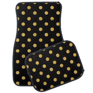 Elegant Black And Gold Foil Polka Dot Pattern Car Mat