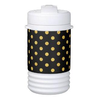 Elegant Black And Gold Foil Polka Dot Pattern Cooler