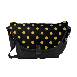 Elegant Black And Gold Foil Polka Dot Pattern Courier Bags