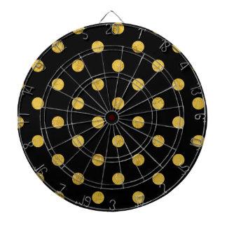 Elegant Black And Gold Foil Polka Dot Pattern Dartboard With Darts