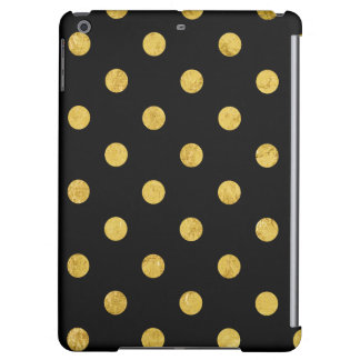 Elegant Black And Gold Foil Polka Dot Pattern iPad Air Cases