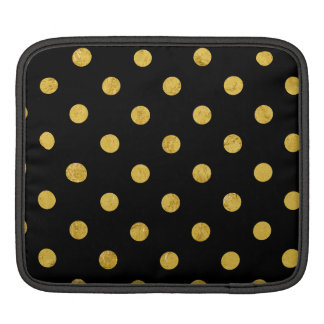 Elegant Black And Gold Foil Polka Dot Pattern iPad Sleeve