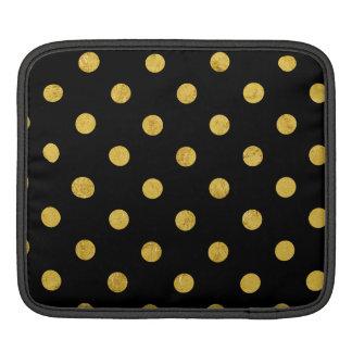 Elegant Black And Gold Foil Polka Dot Pattern iPad Sleeves