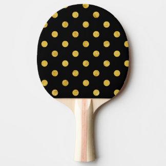 Elegant Black And Gold Foil Polka Dot Pattern Ping Pong Paddle