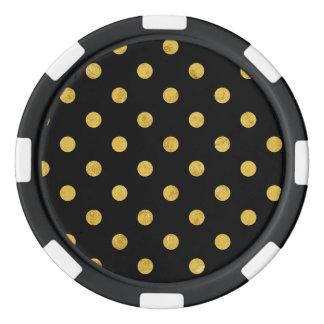Elegant Black And Gold Foil Polka Dot Pattern Poker Chips