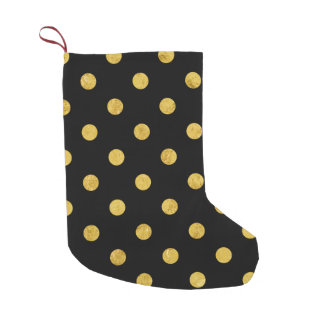 Elegant Black And Gold Foil Polka Dot Pattern Small Christmas Stocking