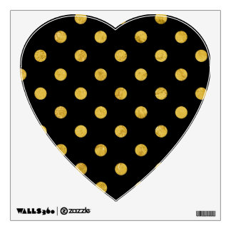 Elegant Black And Gold Foil Polka Dot Pattern Wall Decal