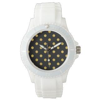 Elegant Black And Gold Foil Polka Dot Pattern Watch