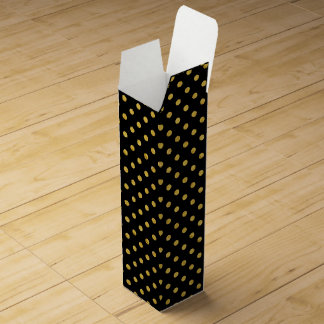 Elegant Black And Gold Foil Polka Dot Pattern Wine Gift Box