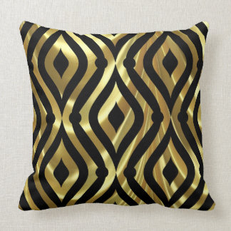 Elegant Black And Gold Geometric Pattern Throw Pillow