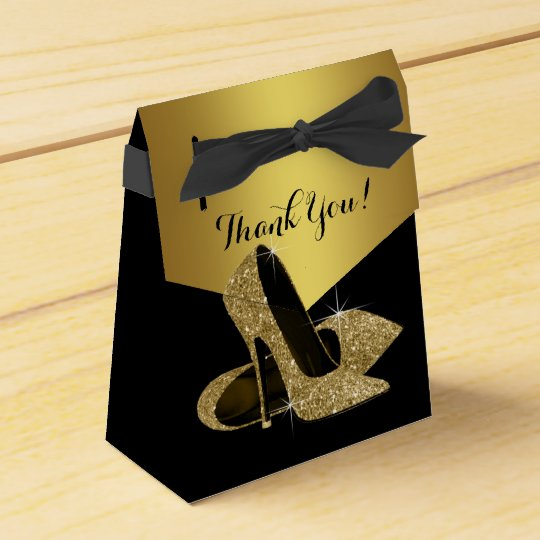 Elegant Black and Gold Glitter High Heel Shoe Favor Box