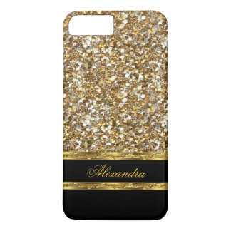 Elegant Black and Gold Glitter iPhone 7 Plus Case