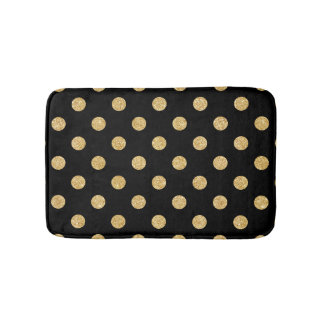 Elegant Black And Gold Glitter Polka Dots Pattern Bath Mat