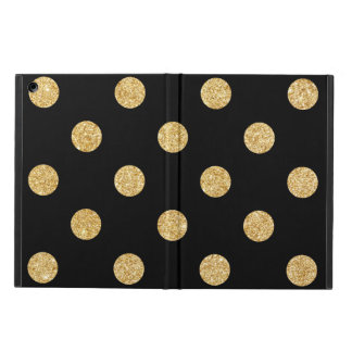 Elegant Black And Gold Glitter Polka Dots Pattern Case For iPad Air