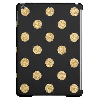Elegant Black And Gold Glitter Polka Dots Pattern Case For iPad Air