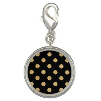 Elegant Black And Gold Glitter Polka Dots Pattern Charm