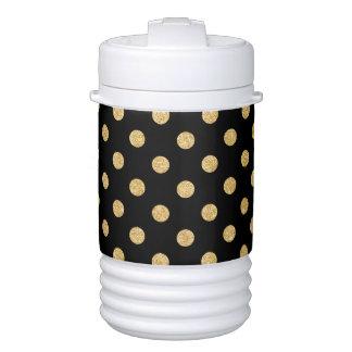 Elegant Black And Gold Glitter Polka Dots Pattern Cooler