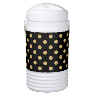 Elegant Black And Gold Glitter Polka Dots Pattern Drinks Cooler