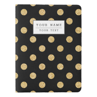Elegant Black And Gold Glitter Polka Dots Pattern Extra Large Moleskine Notebook