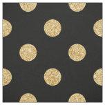 Elegant Black And Gold Glitter Polka Dots Pattern Fabric