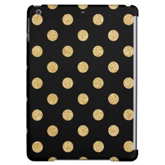 Elegant Black And Gold Glitter Polka Dots Pattern iPad Air Case