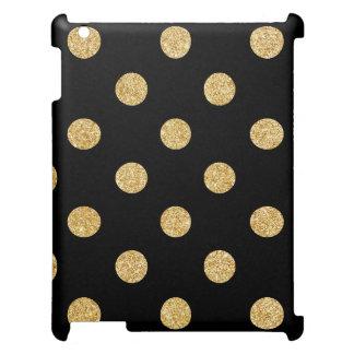 Elegant Black And Gold Glitter Polka Dots Pattern iPad Case