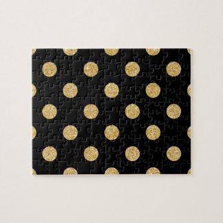 Elegant Black And Gold Glitter Polka Dots Pattern Jigsaw Puzzle