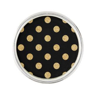 Elegant Black And Gold Glitter Polka Dots Pattern Lapel Pin