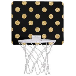 Elegant Black And Gold Glitter Polka Dots Pattern Mini Basketball Hoop