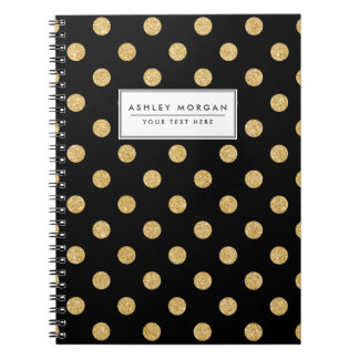 Elegant Black And Gold Glitter Polka Dots Pattern Note Book