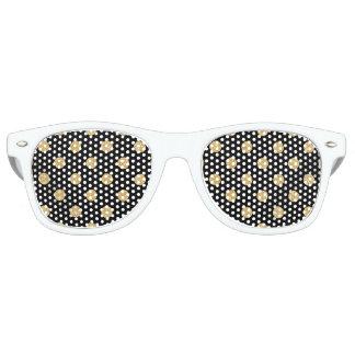Elegant Black And Gold Glitter Polka Dots Pattern Party Sunglasses