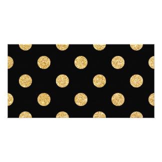 Elegant Black And Gold Glitter Polka Dots Pattern Photo Card Template