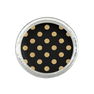 Elegant Black And Gold Glitter Polka Dots Pattern Photo Ring