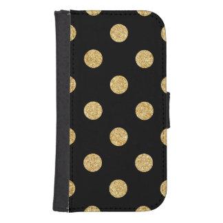 Elegant Black And Gold Glitter Polka Dots Pattern Samsung S4 Wallet Case