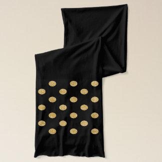 Elegant Black And Gold Glitter Polka Dots Pattern Scarf