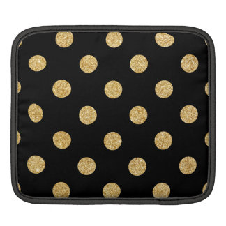 Elegant Black And Gold Glitter Polka Dots Pattern Sleeve For iPads