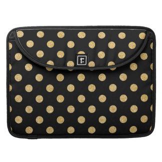 Elegant Black And Gold Glitter Polka Dots Pattern Sleeves For MacBooks