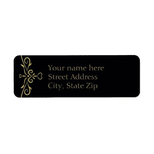 Elegant Black and Gold Heart Flourish Return Address Label