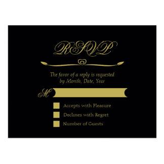 Elegant Black and Gold Heart Flourish RSVP Postcard
