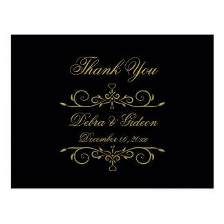 Elegant Black and Gold Heart Flourish Thank You Postcard