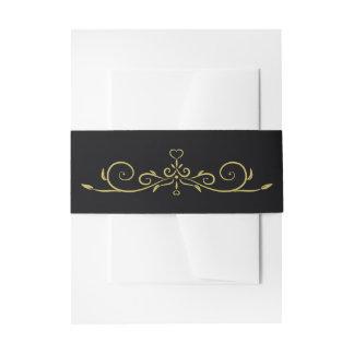 Elegant Black and Gold Hearts Flourish Wedding Invitation Belly Band