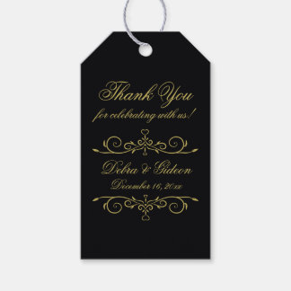 Elegant Black and Gold Hearts Monogram Thank You Gift Tags
