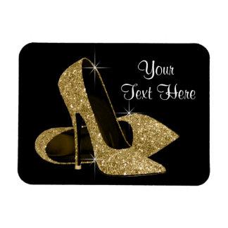 Elegant Black and Gold High Heel Shoe Magnets