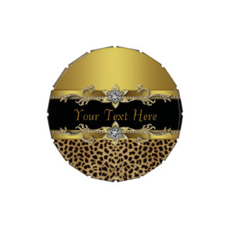 Elegant Black and Gold Leopard Corporate Candy
