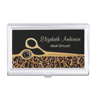 Elegant Black and Gold Leopard Hair Salon Business Card Holder