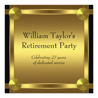 "Elegant Black and Gold Mans Retirement Party 5.25"" Square Invitation Card"