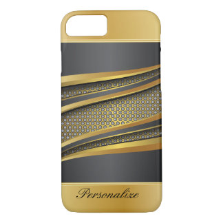 Elegant Black and Gold Metallic Mesh Design iPhone 7 Case