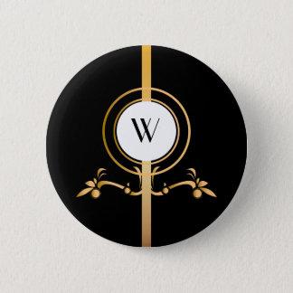 Elegant Black and Gold Monogram Design | 2 Inch Round Button