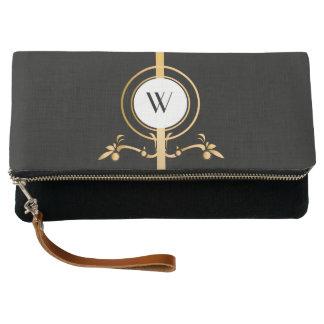 Elegant Black and Gold Monogram Design   Clutch