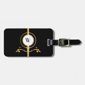 Elegant Black and Gold Monogram Design | Luggage Tag